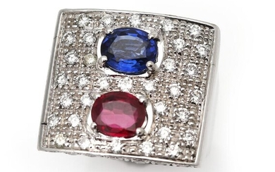 NOT SOLD. A sapphire, ruby and diamond ring set with a sapphire and a ruby encircled by numerous diamonds, mounted in 18k white gold. Size app. 48. – Bruun Rasmussen Auctioneers of Fine Art