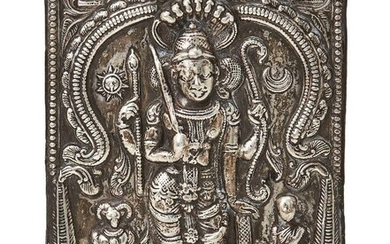 A silver repousse plaque depicting Shiva in the form of Virabhandra, India, 19th century, of rectangular form, shown standing with four hands in which he holds a bow, an arrow or a staff, a sword and a shield16.5 x 12.1cm., 93 grams Daksha, whose...