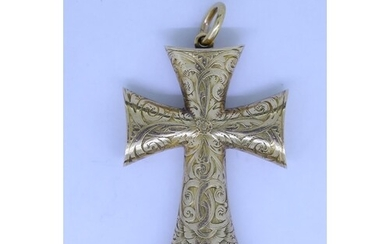 ANTIQUE VICTORIAN CROSS PENDANT, decoratde with floral and s...