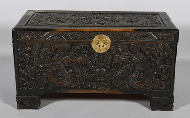 ASIAN HINGED CARVED CHEST WITH CEDAR LINED INTERIOR