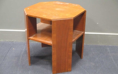 An Art Deco style occasional table with canted corners 52 x 55 x 55cm