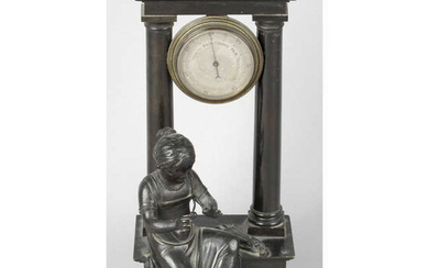 An early 19th Century bronze desk barometer decorated with the figure of a seated young girl.