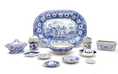 An early 19th century 'Zebra' pattern blue and white meat plate