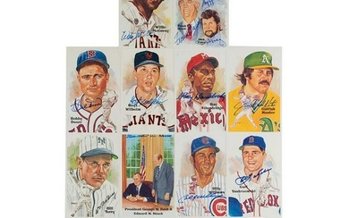Baseball Hall of Famers (14) Signed Perez-Steele Cards