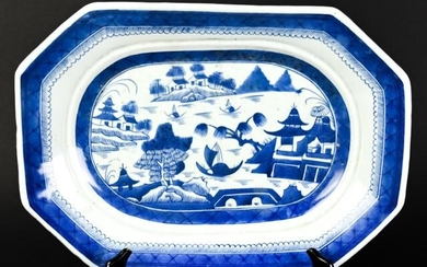 Chinese Canton Blue and White Porcelain Platter