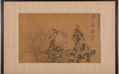Chinese Painting on Silk Scholar's Rock