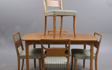 DINING GROUP, 6 parts, wood, 20th century.