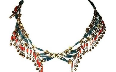 Egyptian Revival Asymmetrical Red Coral Brass Faience