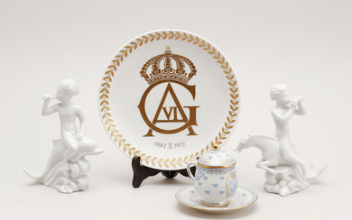 FIGURES, 2 pcs, DISH, and CREAM CUP with DISH, porcelain, Rörstrand.