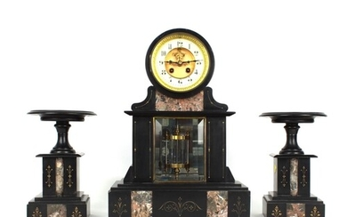 French black slate and red marble two train drumhead mantel ...