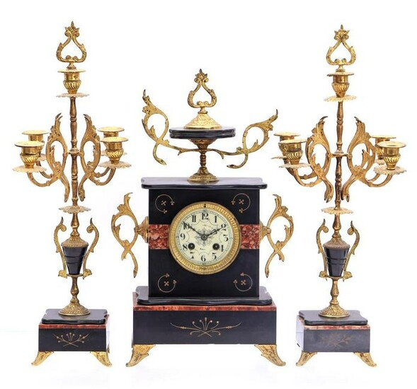 French marble 3-piece mantel clock
