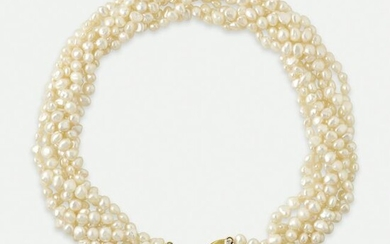 Freshwater cultured pearl and diamond bow necklace