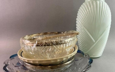 Group of 5 Glass Pieces Pie Plate Relish Tray Vase