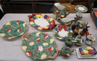 Group with Holiday Theme Ceramic Table Articles and Three Halloween Figures