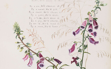 """Ireland & India Botany.- [?McFall (Frances Elizabeth, novelist and women's rights campaigner), """"Sarah Grand.""""] [Album of botanical watercolours and accompanying manuscript poetry], each page with a watercolour wash flowering plant and accompanying..."""