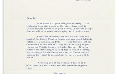 """KENNEDY, JOHN F. Typed Letter Signed, """"Jack,"""" as"""