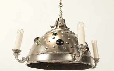 LATE VICTORIAN SILVER PLATE CHANDELIER