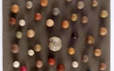 LOT OF 42 VINTAGE CLAY COMMIES MARBLES