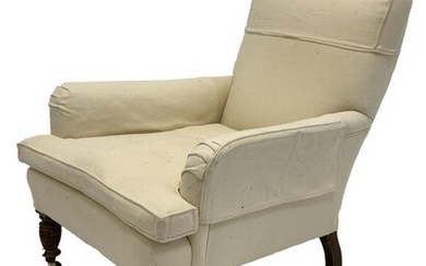 Late Victorian Howard style armchair, upholstered in natural linen,...