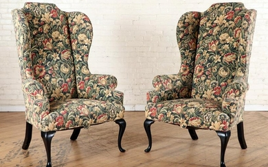 PAIR CUSTOM QUEEN ANNE STYLE HIGHBACK WING CHAIRS