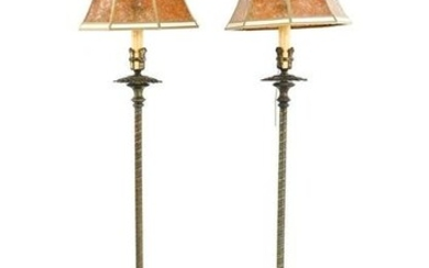 PAIR OF CAST IRON & BRASS MICA SHADE FLOOR LAMPS