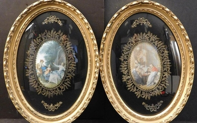 PAIR OF ROCOCO GENRE SCENE PRINTS ON SATIN