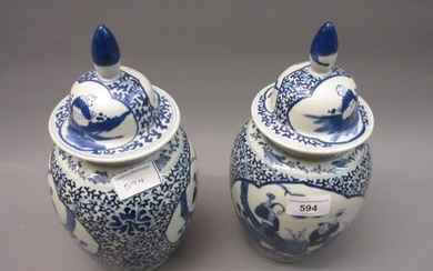 Pair of 19th Century Chinese blue and white ginger jars with...