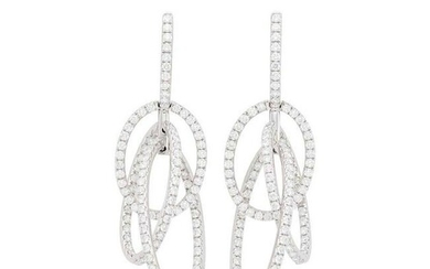 Pair of White Gold and Diamond Pendant-Earrings