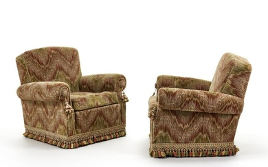 Pair of armchairs with removable cushions covered in