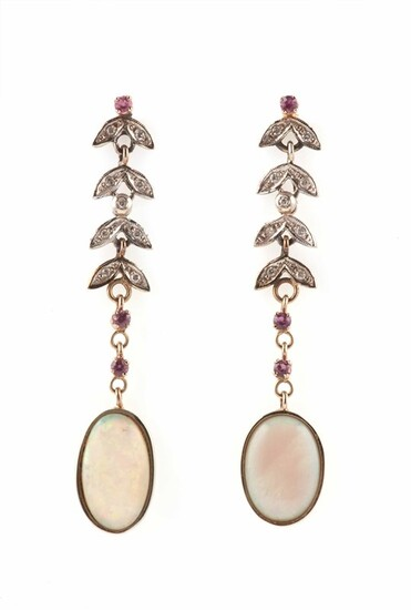 Pair of opal, diamond, ruby, gold and silver earrings