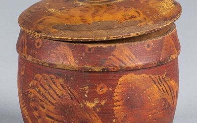 Pennsylvania turned and painted canister, 19th c.