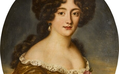 Portrait of Ortensia Mancini, duchessa di Mazzarino (1646–1699), half-length, wearing a lace-trimmed gold dress, with pink blooms at her breast