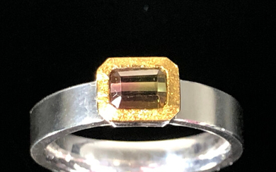 Ring with watermelon tourmaline.