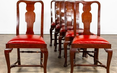 SET, SIX QUEEN ANNE STYLE WALNUT SIDE CHAIRS