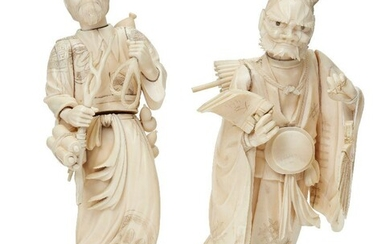 Two Japanese ivory okimono, Meiji Period, one carved as a man with staff and scrolls, a rope clasped in his left hand and gourd strung across his shoulder, signed Masayuki in red lacquer reserve to base, 25cm high; the other carved as an oni...