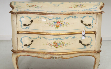 Venetian Rococo style painted serpentine commode