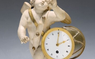table clock, France, around 1860, Alabaster in shape...