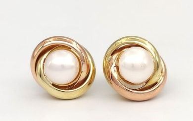 18 kt. Pink gold, Yellow gold - Earrings - Akoya pearls 7.50 mm