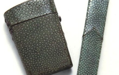 (2) Antique shagreen cased items including