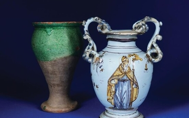 2 light blue maiolica and partially green terracotta vases