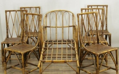 6 Vintage Bamboo Dining Chairs and Chaise