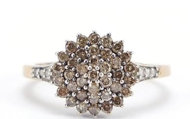9ct gold Champagne diamond four tier cluster ring, size P, 2...
