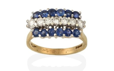 A 9 Carat Gold Sapphire and Diamond Ring, a row...