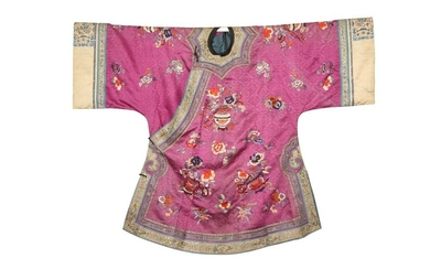 A CHINESE EMBROIDERED PURPLE-GROUND LADY'S SILK JACKET.