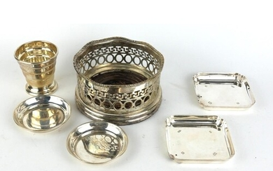 A COLLECTION OF FOUR VINTAGE SILVER DISHES A pair of square ...