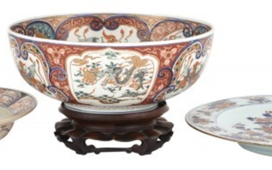 A Chinese Imari Porcelain Charger; Together with a Japanese Imari Porcelain Barbers Bowl & a Japanese Imari Porcelain Bowl