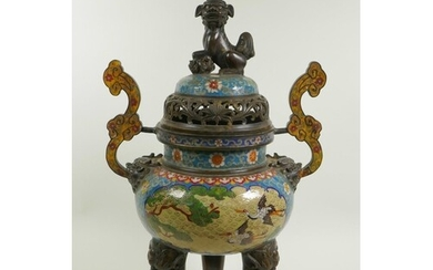 A Chinese cloisonne two handled censer and cover on tripod s...