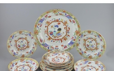A Chinese famille rose porcelain part dinner service, Qianlo...