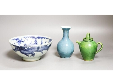 A Chinese robin's egg glazed vase, a Chinese blue and white ...