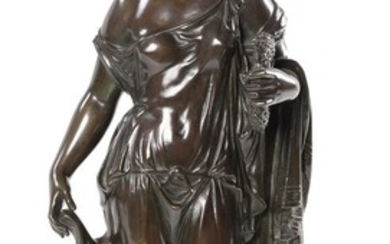 A FRENCH BRONZE FIGURE OF A CLASSICAL MAIDEN, 19TH CENTURY